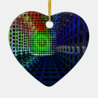 Abstract squares Double-Sided heart ceramic christmas ornament