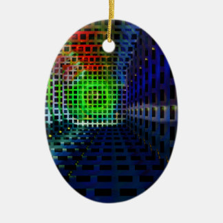 Abstract squares Double-Sided oval ceramic christmas ornament