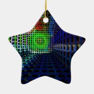 Abstract squares Double-Sided star ceramic christmas ornament