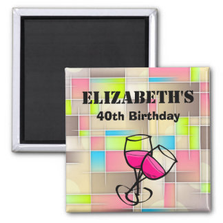 Abstract Squares Geometric Pattern Birthday Magnet
