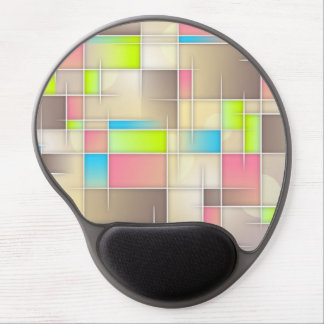 Abstract squares, grids, pink, brown, lime, beige. gel mouse pad