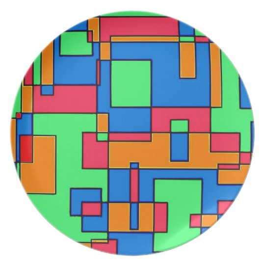 Abstract squares melamine plate