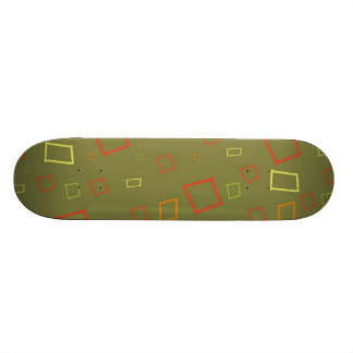 Abstract Squares Orange Sage Skateboard