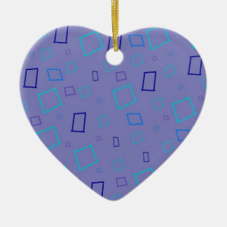 Abstract Squares Purple Heart Ornament