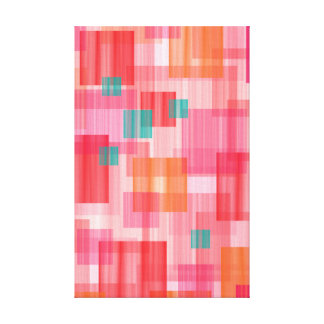 Abstract squares red orange teal geometric canvas print