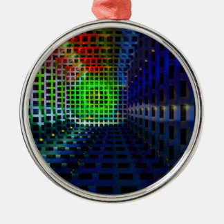Abstract squares round metal christmas ornament