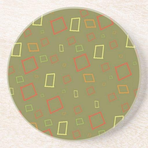 Abstract Squares Sage Coaster