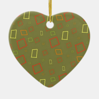 Abstract Squares Sage Heart Ornament