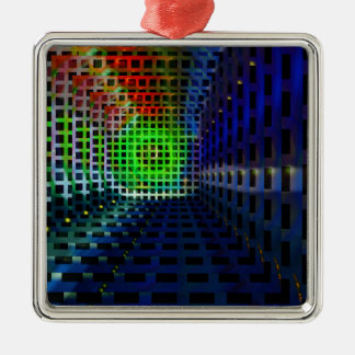 Abstract squares square metal christmas ornament