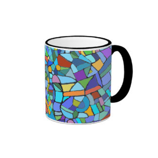 Abstract Stain Glass Design Ringer Coffee Mug