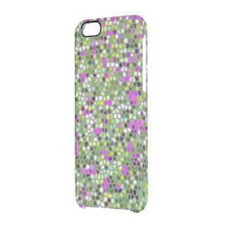 ABSTRACT/STAIN GLASS EFFECT/FUCHSIA AND GREENS CLEAR iPhone 6/6S CASE