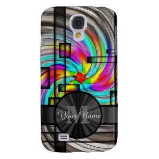 Abstract stained glass and monogram samsung s4 case