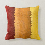 Abstract Stained Glass Autumn Red Orange Yellow Throw Pillow