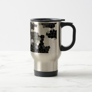 Abstract Stained Glass Black White Grey Mosaic Travel Mug