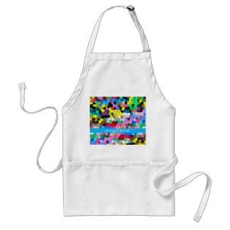 Abstract Stained Glass Colorful Blue Pink Mosaic Adult Apron