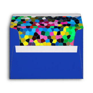 Abstract Stained Glass Colorful Blue Pink Mosaic Envelope