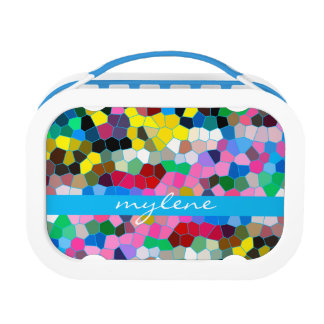 Abstract Stained Glass Colorful Blue Pink Mosaic Yubo Lunchboxes