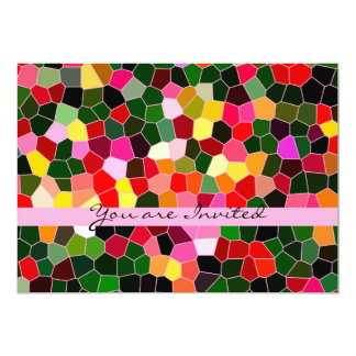 Abstract Stained Glass Colorful Green Pink Mosaic Card