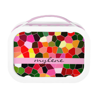 Abstract Stained Glass Colorful Green Pink Mosaic Lunchboxes