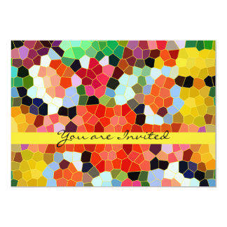Abstract Stained Glass Colorful Yellow Red Mosaic Card