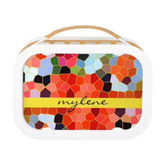 Abstract Stained Glass Colorful Yellow Red Mosaic Yubo Lunch Box
