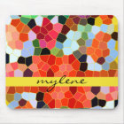 Abstract Stained Glass Colorful Yellow Red Mosaic Mouse Pad