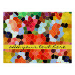 Abstract Stained Glass Colorful Yellow Red Mosaic Print