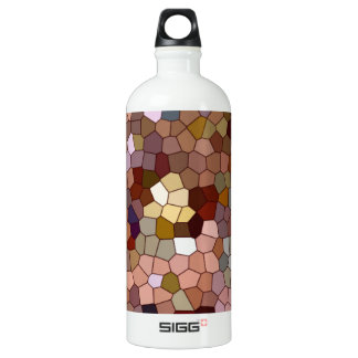 Abstract Stained Glass Copper Silver Metal Coins Aluminum Water Bottle