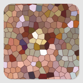Abstract Stained Glass Copper Silver Metal Coins Square Sticker