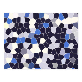 Abstract Stained Glass Dark Blue Grey White Mosaic Postcard