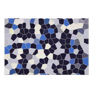 Abstract Stained Glass Dark Blue Grey White Mosaic Poster