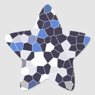 Abstract Stained Glass Dark Blue Grey White Mosaic Star Sticker