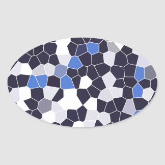 Abstract Stained Glass Dark Blue Grey White Mosaic Oval Stickers