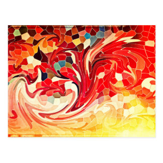 Abstract Stained Glass Firebirds Fiery Red Yellow Postcard