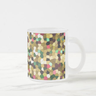 Abstract Stained Glass Gold Pink Green Mosaic Frosted Glass Coffee Mug
