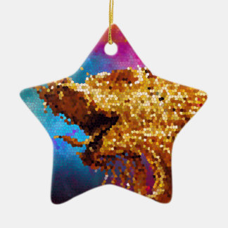 Abstract Stained Glass Golden Dragon Galaxy Mosaic Ceramic Ornament