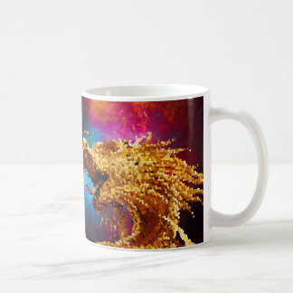 Abstract Stained Glass Golden Dragon Galaxy Mosaic Coffee Mug