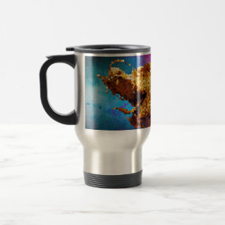 Abstract Stained Glass Golden Dragon Galaxy Mosaic Travel Mug