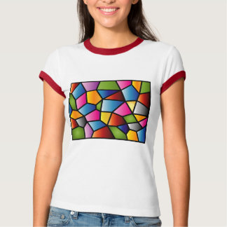 Abstract Stained Glass Ladies Ringer T-shirt