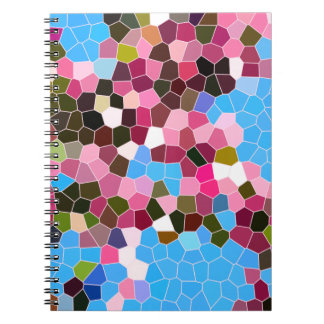 Abstract Stained Glass Pink Dark Green Blue Mosaic Spiral Note Books