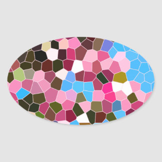 Abstract Stained Glass Pink Dark Green Blue Mosaic Stickers