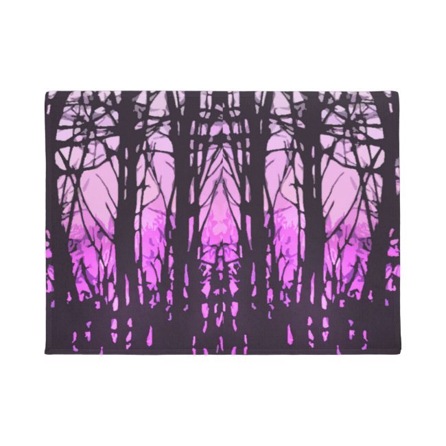 Abstract Stained Glass Purple Sunset Door Mat
