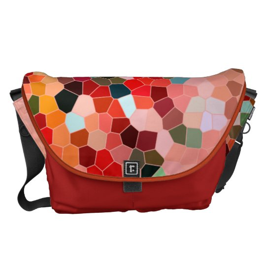 Abstract Stained Glass Red Burgundy Brown Mosaic Courier Bag