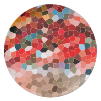 Abstract Stained Glass Red Burgundy Brown Mosaic Melamine Plate