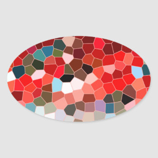 Abstract Stained Glass Red Burgundy Brown Mosaic Sticker