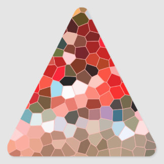 Abstract Stained Glass Red Burgundy Brown Mosaic Triangle Sticker