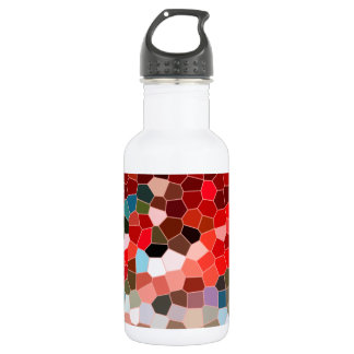 Abstract Stained Glass Red Burgundy Brown Mosaic Water Bottle
