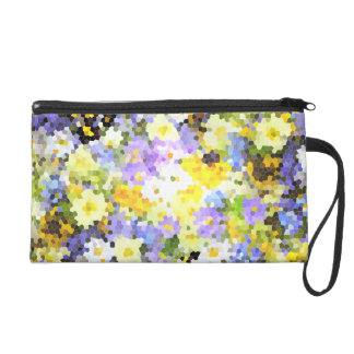 Abstract Stained Glass Spring Flower Yellow Violet Wristlet Purse