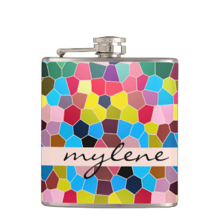 Abstract Stained Glass Vivid Rainbow Candy Mosaic Hip Flask