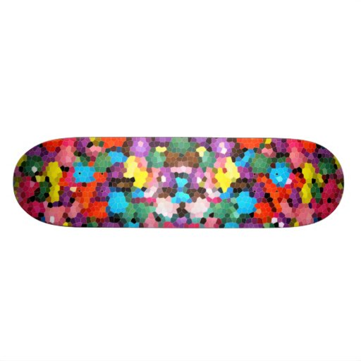Abstract Stained Glass Vivid Rainbow Candy Mosaic Skate Deck
